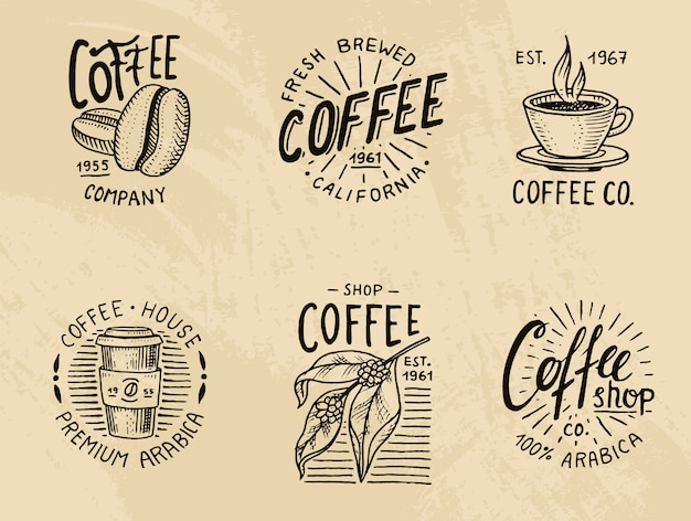 Zestaw Logo Kawy. Nowoczesne Elementy Vintage W Menu Sklepu. Ilustracja. Premium Wektorów