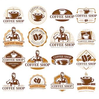 Zestaw logo kawy, znaczek etykiety kawy lub paczka godła, kolekcja etykiet kawiarni.