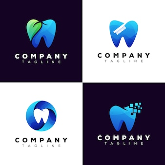 Zestaw logo kliniki dentystycznej, pakiet logo zębów