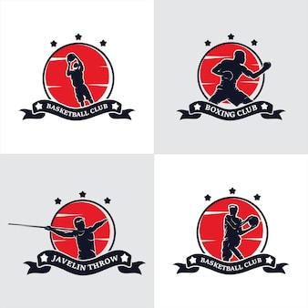 Zestaw logo klubu mistrzów boksu akademii walki