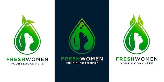 Zestaw logo kobiety piękno naturalnego oleju z twarzą kobiety, liściem i szablonem projektu świeżego oleju i wizytówki premium wektor