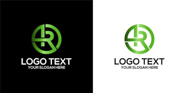 Zestaw logo koła w połączeniu z szablonem litery r i 4 wzorami wektor premium