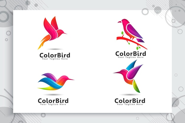 Zestaw logo kolorowy ptak