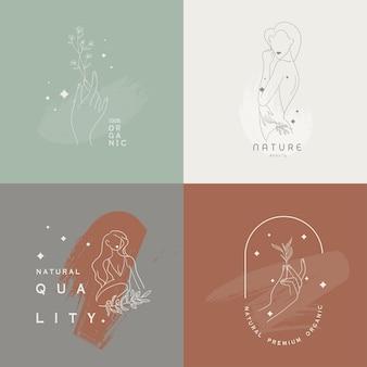 Zestaw logo koncepcja piękna w ręku narysowana