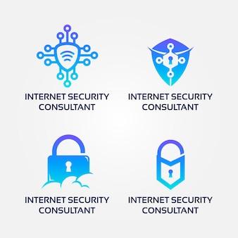 Zestaw logo konsultanta bezpieczeństwa internetu