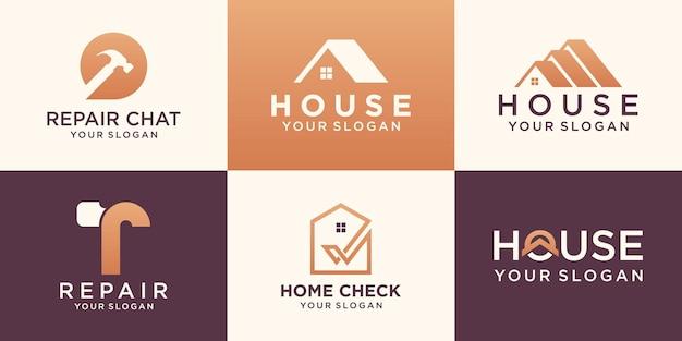 Zestaw logo kreatywnego domu, kolekcja kreatywnych logo domu połączony element młotka, abstrakcyjne budynki.