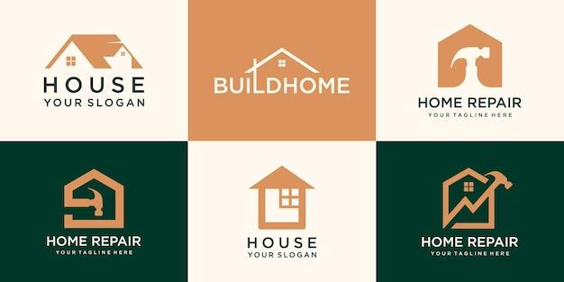 Zestaw logo kreatywnego domu