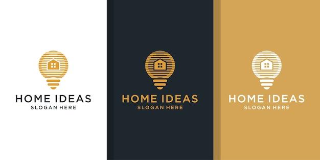 Zestaw logo kreatywnego projektowania domu i żarówki