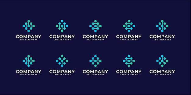 Zestaw logo kropki monogram. uniwersalny kolorowy biotechnologia cząsteczka atom dna chip symbol
