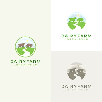 Zestaw logo krowy. godło mleka gospodarstwa. logotyp produktu mleczarskiego.