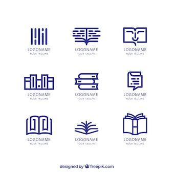 Zestaw logo księgarni w stylu liniowym
