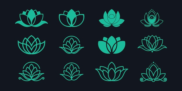 Zestaw logo kwiat lotosu.
