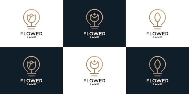 Zestaw logo kwiatowej lampy spa natura
