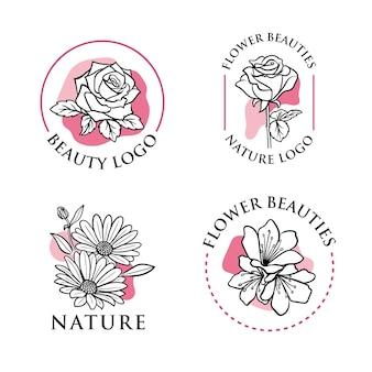 Zestaw logo kwiatu lineartu,
