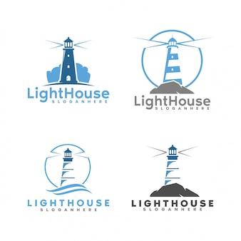 Zestaw logo latarni morskiej