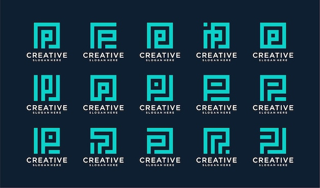 Zestaw logo litera p w stylu koła