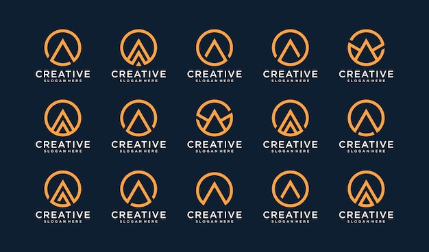 Zestaw logo litery a w stylu koła