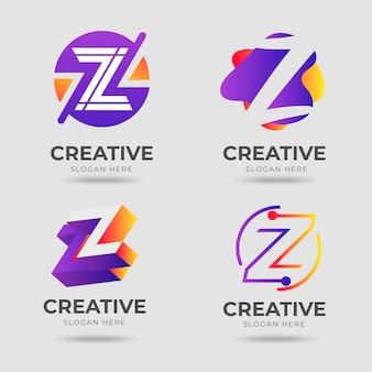 Zestaw logo litery gradientu #z