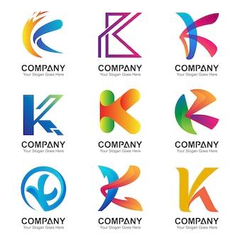 Zestaw logo litery k.