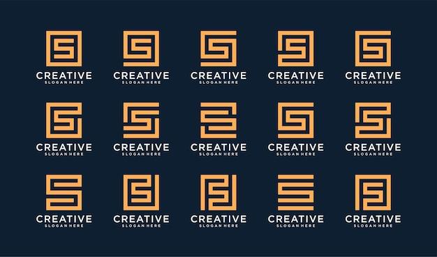 Zestaw logo litery s w stylu koła