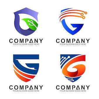 Zestaw logo litery t tarcza