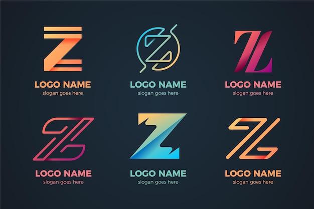 Zestaw logo litery z gradientu