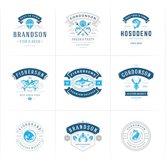Zestaw logo lub znaków owoców morza