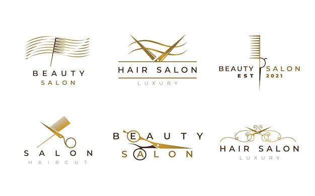 Zestaw logo luksusowego salonu fryzjerskiego