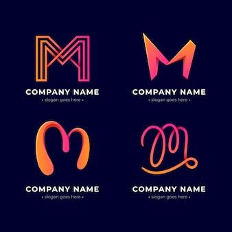 Zestaw logo m w kolorze gradientu