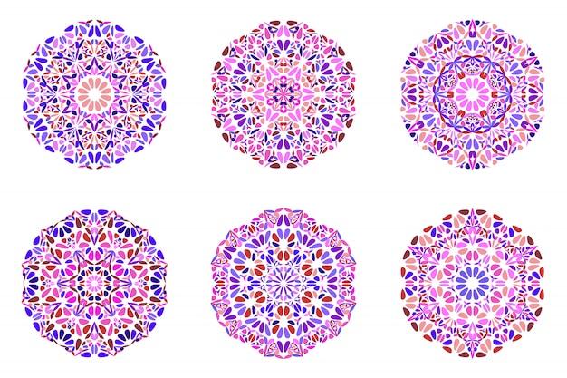 Zestaw logo mandali kwiecisty geometryczny ornament kwiatowy