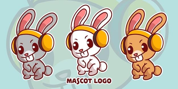 Zestaw logo maskotka ładny królik