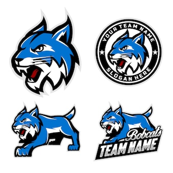 Zestaw logo maskotki bobcats dla logo maskotki drużyny sportowej.