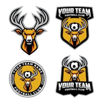 Zestaw logo maskotki głowy jelenia do logo drużyny piłkarskiej. .