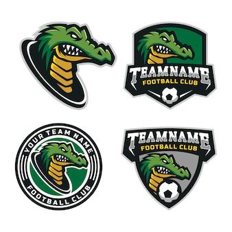Zestaw logo maskotki głowy krokodyli dla logo drużyny piłkarskiej. .