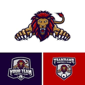 Zestaw logo maskotki głowy lwy dla logo drużyny piłkarskiej. .