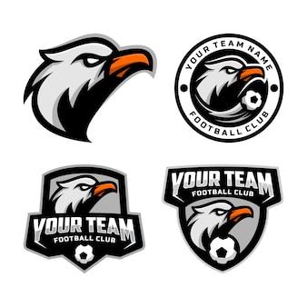 Zestaw logo maskotki głowy orła dla logo drużyny piłkarskiej. .
