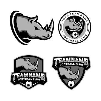 Zestaw logo maskotki głowy rhinos do logo drużyny piłkarskiej. .
