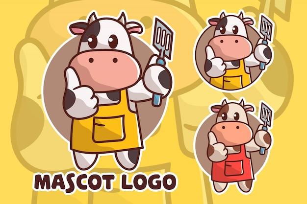 Zestaw logo maskotki krowy ładny gotowania