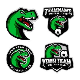 Zestaw logo maskotki t rex head do logo drużyny piłkarskiej. .