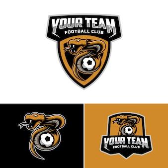 Zestaw logo maskotki węża do logo drużyny piłkarskiej. .