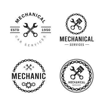 Zestaw logo mechanika, usługi, inżynieria, naprawa.