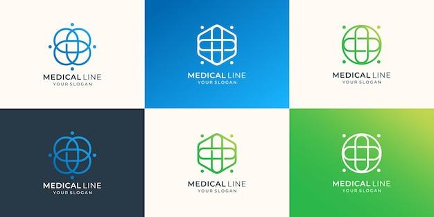 Zestaw logo medycznego z minimalistycznym krzyżem sztuki linii