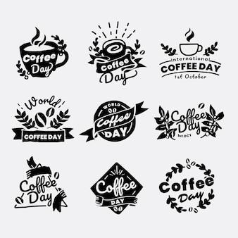 Zestaw logo międzynarodowego dnia kawy