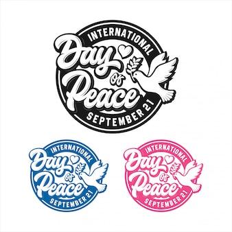 Zestaw logo międzynarodowego dnia pokoju