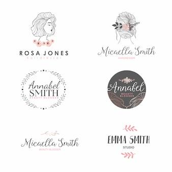 Zestaw logo moda femme dla piękności, salon fryzjerski, kosmetyczne