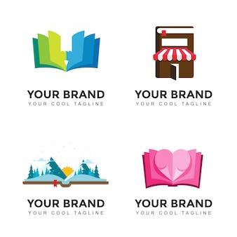 Zestaw Logo Modern Book Lover Premium Wektorów