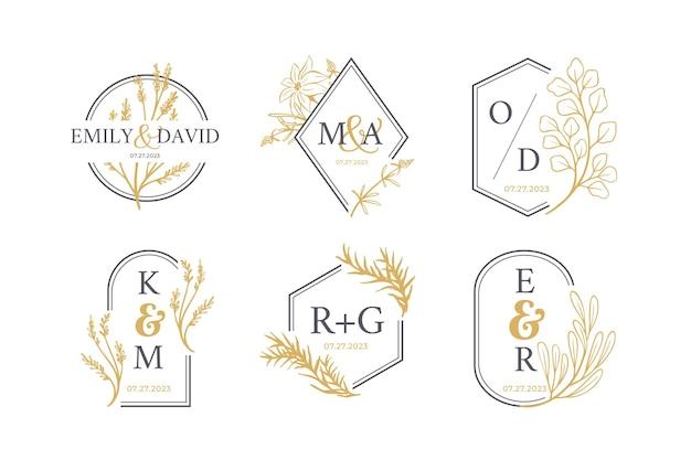 Zestaw logo monogram ślubu