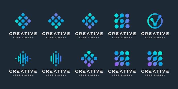Zestaw logo monogram z koncepcją kropki. uniwersalny kolorowy biotechnologii atom cząsteczki symbol chip dna. to logo nadaje się do badań, nauki, medycyny, logotypu, technologii, laboratorium, cząsteczki.