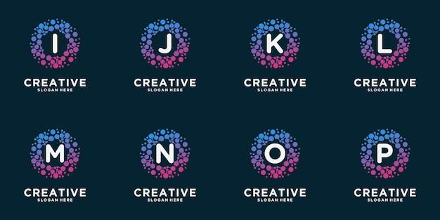 Zestaw logo monogram z koncepcją kropki. uniwersalny kolorowy chip dna cząsteczki biotechnologii atomu. badania naukowe, nauka, medycyna, logotyp, technologia, laboratorium, cząsteczka