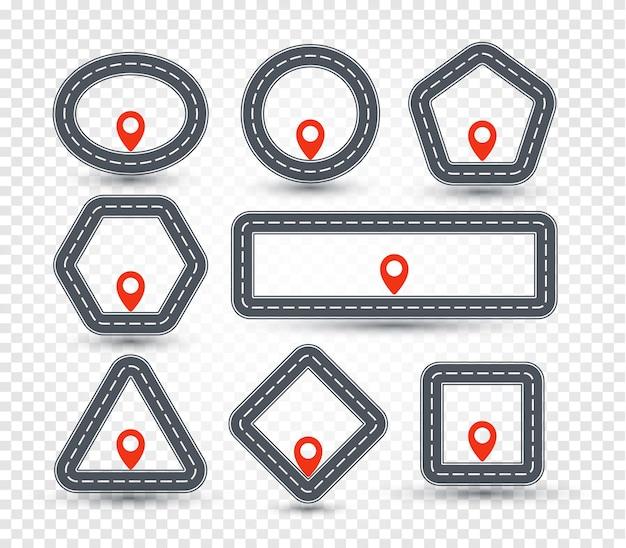 Zestaw logo na białym tle geometrycznej pinezki, kolekcja znaków drogowych, symbol lokalizacji